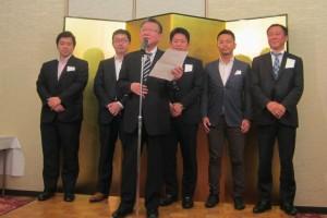 新田村理事長と新理事として専任された若手理事のお披露目